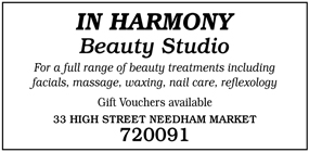 In Harmony Beauty Studio advert