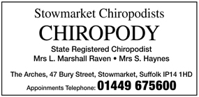 Stowmarket Chiropodists advert